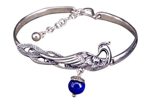 NicoWerk Damen Silber Armreif Pfau aus 925 Sterling Silber Vintage Blau Lapislazuli Kugel mit Stein Edelstein Vogel Ethno Offen SAR129