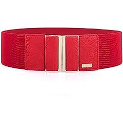MIJIU Cinturón ancho elástico para mujer con hebilla de aleación Cinturón estiramiento