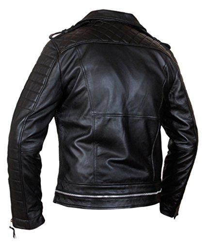 F&H Men's Genuine Lambskin Leather Biker Motorcycle Jacket Black