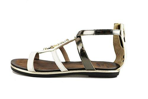 JANET & JANET sandali donna 37 EU bianco pelle grigio borchie AG407