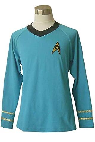 DreamDance Star Trek Cosplay Spock Science Costume Shirt Blue