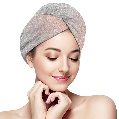 Frauen & Mädchen Haartuch Wrap Mikrofaser Haartuch Quick Dry Haartuch für lockiges, langes & dickes Haar Rose Gold Glitter Silber
