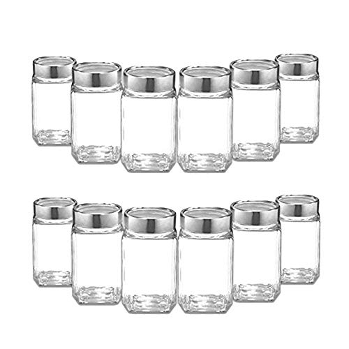 300 Ml Cube Glass Jar Canister Storage Container Airtight Lid Buckle Kitchen Food Organizer for Pickle Spices Jam Pulses Preservation (10)