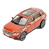 SXET-Modellauto Modellauto-Legierung Automodell Kinder spielzeugauto 1:32 Volkswagen Tiguan L Geländewagen SUV Modellschmuck (Farbe : Orange)