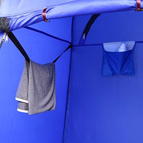 ANCHEER Ultraleichtes Segeltuch Umkleidezelt Pop up Zelt tragbares Duschzelt Outdoor WC Zelt Toilettenzelt für Camping (Blau) - 4
