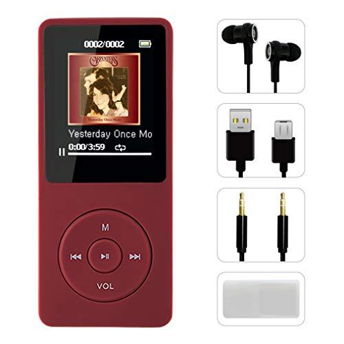 FenQan MP3-Player, tragbar, mehrfarbiger HiFi-Sound, MP3-Player, 8 GB Speicher, unterstützt 128G TF-Karte, 70 Stunden Wiedergabe mit multifunktionalem Video, Foto-Viewer und FM-Radio
