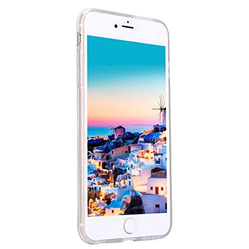 Etsue pour [ iPhone 7 ] Doux Protecteur Coque,TPU Matériau Frame est Transparent Soft Cover pour iPhone 7,Marbre Motif par Dessin de Mode Case Coque pour iPhone 7 + 1 x Bleu stylet + 1 x Bling poussiè Noir