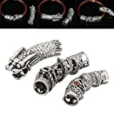 Electrodose 6X Alloy Antique Dragon Dreadlock Silver Hair Beads