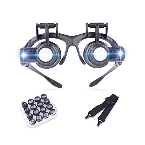 WOAIWOJIA Lupenbrille Mit Licht Hände Frei Kopfband Lupen Standlupe Mit 2 Led Lichts Für...
