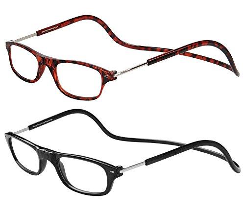 TBOC Pack: Gafas de Lectura Presbicia Vista Cansada – (Dos Unidades) Graduadas +2.00 Dioptrías Montura Marrón Carey y Negra Hombre Mujer Imantadas Plegables Lentes Aumento Leer Ver Cerca Cuello Imán
