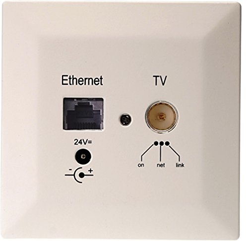 Digital Devices Poli Coax 500 – Powerline Unterputzdose Erweiterung (DVB-C, Netzwerk, Internet, Koaxial-Kabel) weiß, 24 Volt