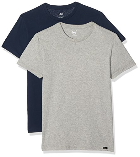 Lee Twin Pack Crew, T-Shirt Uomo (pacco da 2) Multicolore (2 Pack Mix Aild)