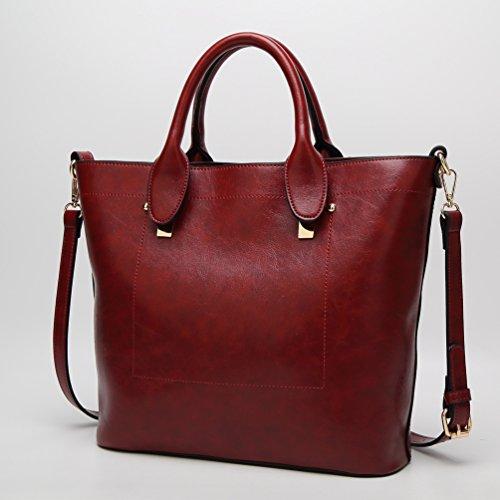 YiLianDa Borsa A Tracolla Borse Donna Borsa Sacchetto In PU Pelle Cartella Sacchetti Rosso