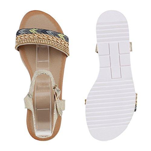 Damen Komfort-Sandalen | Lack-Optik Glitzer Metallic | Sommerschuhe | Plateau Sandalen Sandaletten | Kork Blumen Glitzer Gold Strass