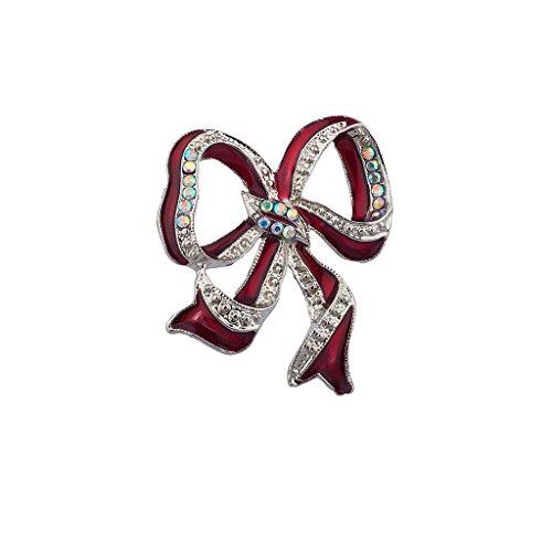 LUX Zubehör Rot Urlaub Weihnachten Band Brosche (Billig Weihnachts Outfits Für Erwachsene)