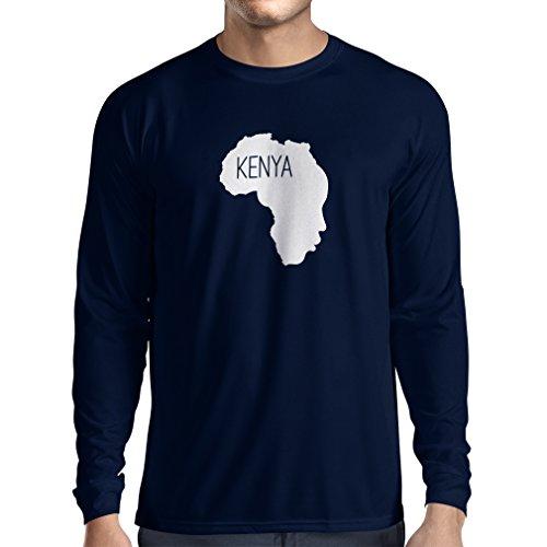 N4200L Speichern Kenia lustiges Geschenk, Langarm T-Shirt Blau Weiß
