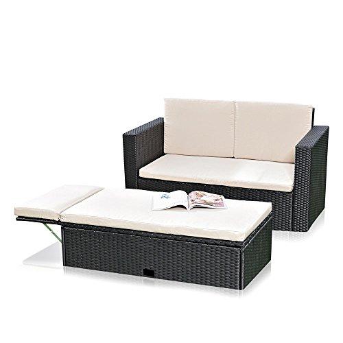 Melko Lounge Sofa-Garnitur Gartenset, Poly Rattan, mit klappbarer Fußbank, inklusive Kissen, mehrteilig, Schwarz -