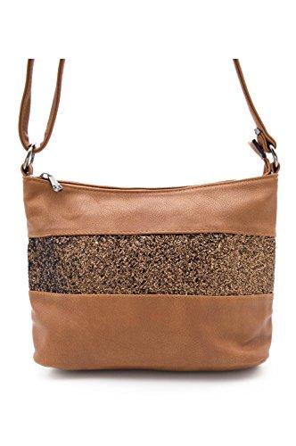 Gallantry -Sac bandoulière / sac porté épaule / sac paillettes femme / Sac Strass (Marron)