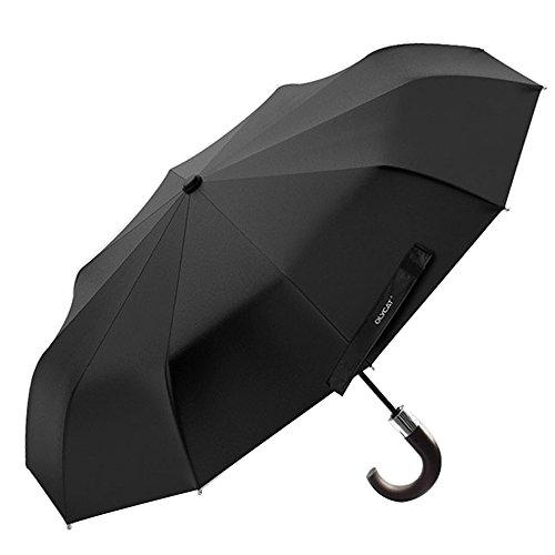XLORDX Luxus Business Herren Regenschirm Taschenschirm mit automatischem Knopf, 10 verstärkten Rippen, winddicht, leicht & kompakt, Schwarz