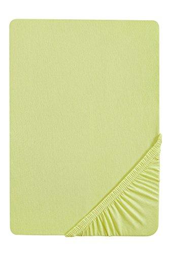 biberna 77155 Jersey-Stretch Spannbetttuch, nach Öko-Tex Standard 100, ca. 180 x 200 cm bis 200 x 200 cm, pistaziengrün