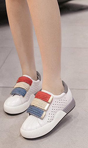 Aisun Femme Confort Multicolore Scratch Talon Compensé Baskets Gris