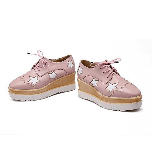 VogueZone009 Damen Mittler Absatz Weiches Material Quadratisch Zehe Pumps Schuhe Pink