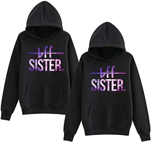 Friends Kapuzenpullis für Zwei Mädchen Damen Best Friends Pullover Freunde Sweatshirt BFF Hoodie mit Kapuze warm Geschenk 1 stücke-Schwarz-Lila-S
