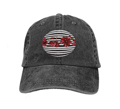Unisex Flat Bill Hip Hop Cap Baseball Hat Head-Wear Cotton Trucker Hats Stripes floral Beach Watercolor Hand Painted Tropic Summer m Black -