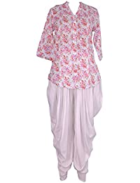 Pintex Tunic Top And Dhoti Pant Ethnic Suits Set For Women – V-Neck, Nehru Collar, Rollup Sleeve, Red Floral Print...