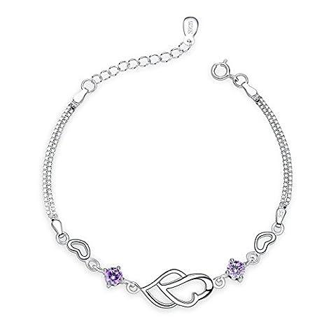 Fashmond- Bracelet Doubles Coeurs enlacés- Argent fin 925 et pierres
