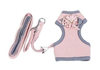Les Petits Animaux De Chats, Chiens Et Acier Inoxydable Fleurs Corps Solides Crochets Anti - Perdre La Traction Boucle De Corde,Pink,S
