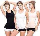 UnsichtBra 3er Pack Damen Unterhemden | Basic Wohlfühl Mikrofaser Tank Tops | Breite Träger Longshirt ohne Bügel (Schwarz,Weiss,Beige, S-M)