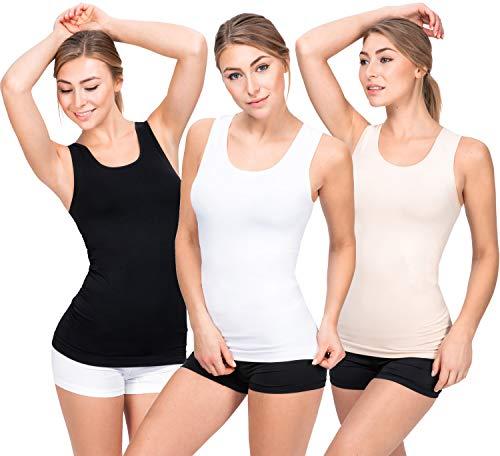 UnsichtBra 3er Pack Damen Unterhemden | Basic Wohlfühl Mikrofaser Tank Tops | Breite Träger Longshirt ohne Bügel (Schwarz,Weiss,Beige, M-L)