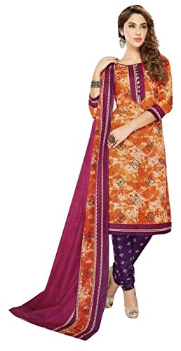 Shalibhadra orange color top with multi color duppata and purple color salwar...