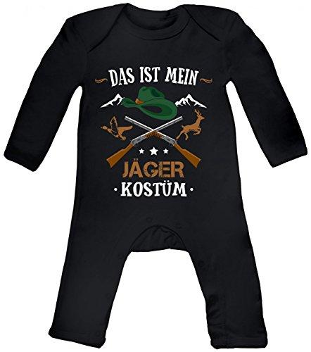 m Jäger Babybody   Verkleidung   Karneval   Fasching   Langarm   Langärmliger Strampler, Farbe:Schwarz (Black BZ13);Größe:3-6 Monate (Billig Narr Kostüme)
