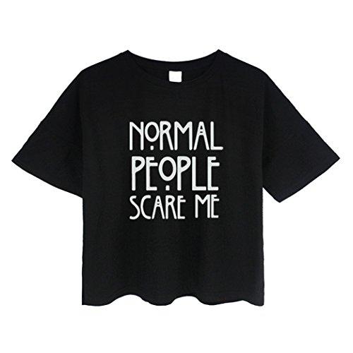 Yeesea Damen Sommer Baumwolle Kurzarm Crop Top Crop Bluse T Shirt Schwarz
