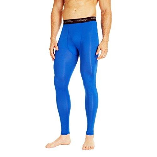 d Kompression Tights Laufhose Sporthose Lang Training Fußball Volleyball Blau M ()