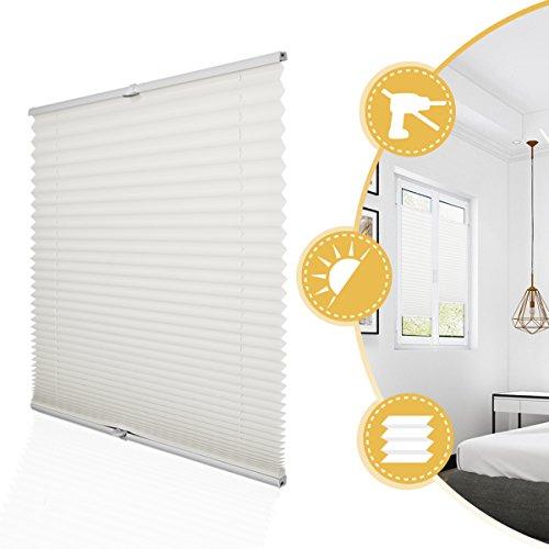 Plissee Rollo Jalousie ohne Bohren Klemmfix für Fenster & Tür Beige 90 x 200 cm (Breite x Höhe), Plisseerollo Stoff Sonnenschutz leicht zu montieren & Verspannt