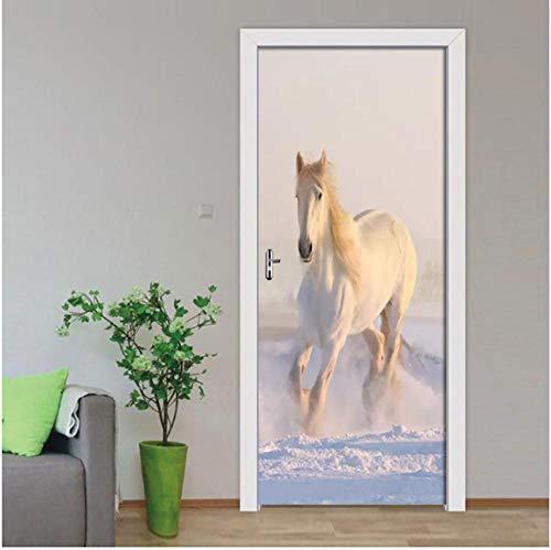 Newberli Türbild Nordic White Horse Dekorative 3D Tür Aufkleber Selbstklebende Tapete Poster Wohnkultur 3D Wandbild Aufkleber