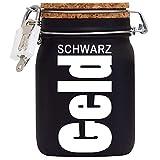 Schwarzgeld XXL-Spardose mit Vorhängeschloss in Weiss/Geld-Geschenk mit Sparschlitz Korkdeckel