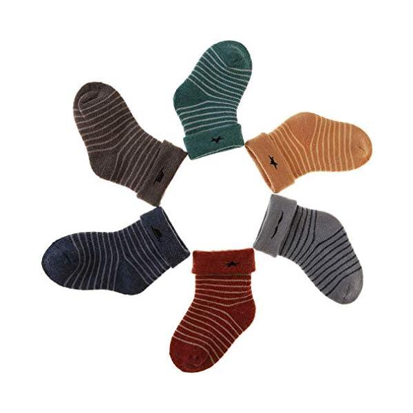 Z-Chen Calcetines Térmicos Invierno para Bebé Niños (Pack de 6 Pares), a rayas, 0-1 Años 3