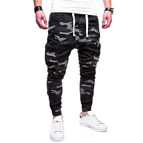 Aiserkly Herren Freizeithose Die Sport-Tarnung-Hosen-Zurrgürtel der Art- und Weisemänner Lösen Jogginghose-beiläufige Drawstring-Hosen Gap Straight Fit Jeans