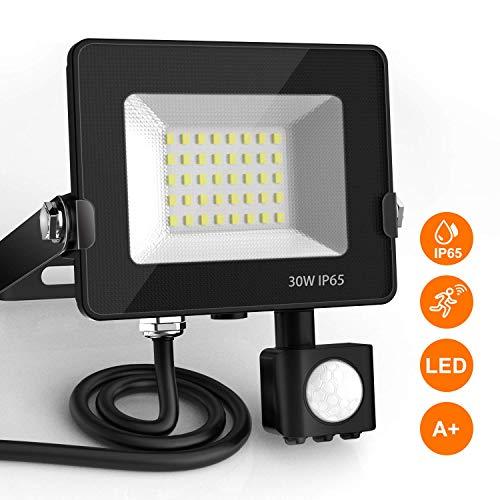 Projecteur LED détecteur de mouvement BEIEN, 30W 2400LM 6000K spot led exterieur avec detecteur IP65 lampe de sécurité idéal pour éclairage public, garage, couloir, jardin, etc