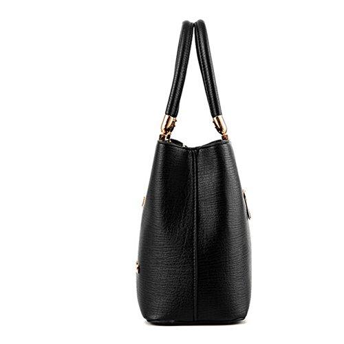 fanhappygo Fashion Retro Leder Damen elegant pu Quaste Handtaschen Umschlag Schulterbeutel Umhängetaschen schwarz