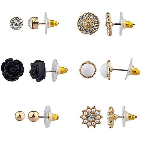 Lux accessori Nero Rosa Pave Disco floreale più orecchini con perla di Faux