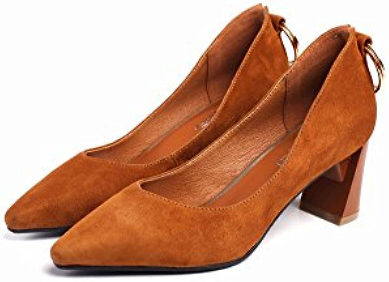 DIDIDD Zapatos de Tacón Alto Puntiagudos con Hebilla Redonda de Temperamento Grueso con Zapatos de Mujer, Segundo,37