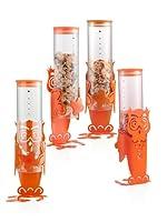 BRANDANI Gift Group Art.55139 DISPENSER DOSA CEREALI gufo COLORE arancio IN VETRO E METALLO SIMPATICO E UTILE PER COLORARE LA VOSTRA CASA SIAMO RIVENDITORI BRANDANI AUTORIZZATI Misura: 12x12x40h cm.