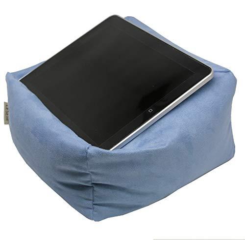 LESEfit Soft antirutsch Lesekissen, Tablet Kissen Halter kompatibel mit iPad *, rundum Sitzsack für Buch & eBook (multifunktionale Quader-Form) für Bett & Sofa - Wildleder-Imitat blau