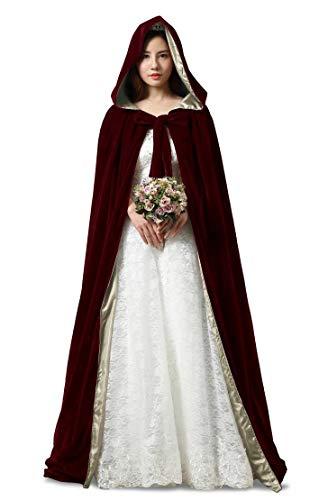 Kostüm Rot Assistenten - ShineGown Halloween Cosplay Mantel mit Hauben Burgund Lange Damen Hochzeit Braut Kap Mittelalter Kostüm Samt Unisex Erwachsene Kinder Verrücktes Kleid
