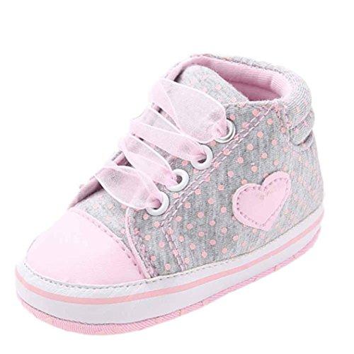 kingko® Chaussures Fille Toile Bébés garçons Chaussures Sneaker anti-dérapant souple Sole Toddler adapté pour 0-18 mois bébé (6~12 Mois, gris)